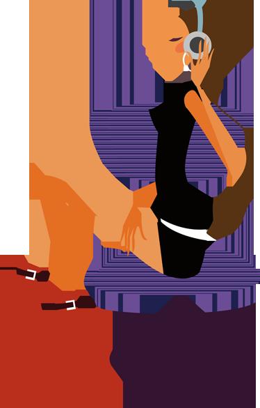 TENSTICKERS. ヘッドフォンの装飾的なステッカーを持つエレガントな女性. このウォールステッカーは、エレガントに座って音楽を聴くスタイリッシュな若い女性を示しています。あなたの家やお店で飾る素敵なデカール。