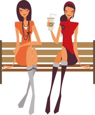 TenStickers. Girls Sitting Decorative Sticker. A wall sticker of two beautiful young ladies sitting down in the park bench whilst talking and having a drink.