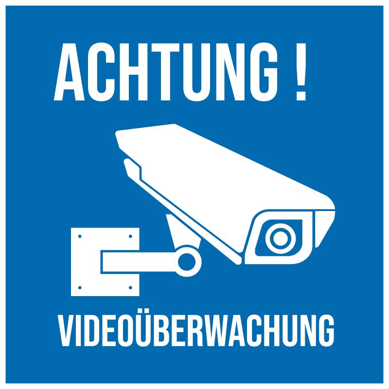 TenStickers. Achtung Videoüberwachung blauer Schild Aufkleber. Dekorative Video-Sicherheitsbeschilderung mit dem Druck des Überwachungskamerabildes und des Warntextes. Einfach aufzutragen und selbstklebend.