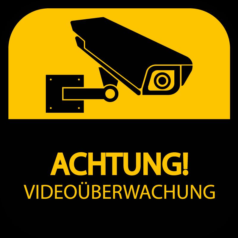 """TenStickers. Achtung Videoüberwachung Warn Aufkleber. Videokamera Sicherheitsschild Aufkleber zum Anbringen der Wandoberfläche zu Hause oder an öffentlichen Orten. Es gibt einen Hinweise mit der Aufschrift """"Achtung Videoüberwachung""""."""