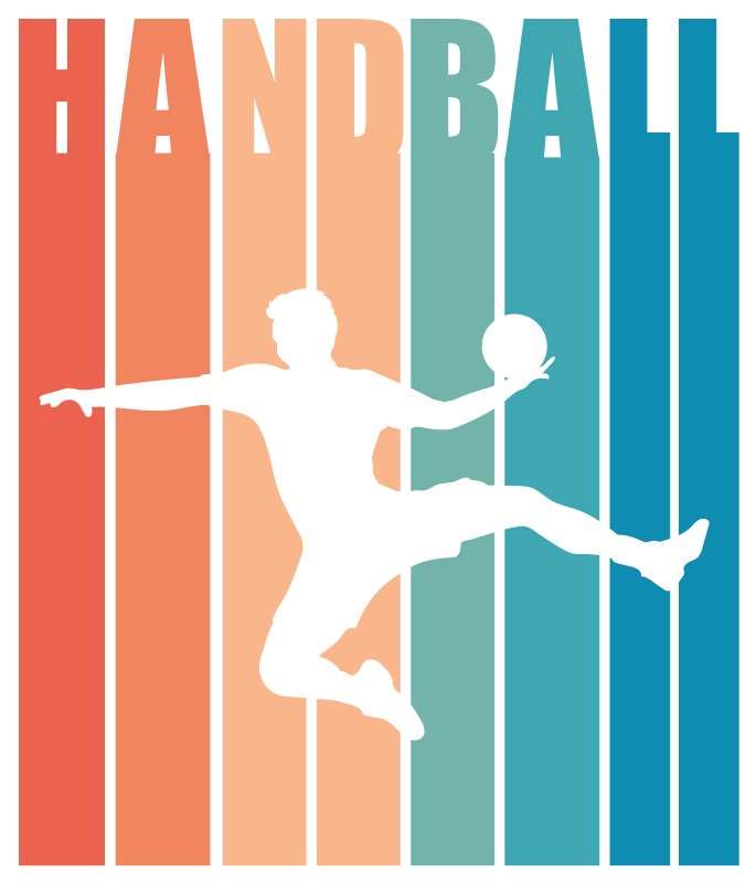 TenStickers. Colorful Handball laptop skin. Decorative handball laptop decal created with a colorful  silhouette of a player. Choose it in the best size option. Easy to apply.