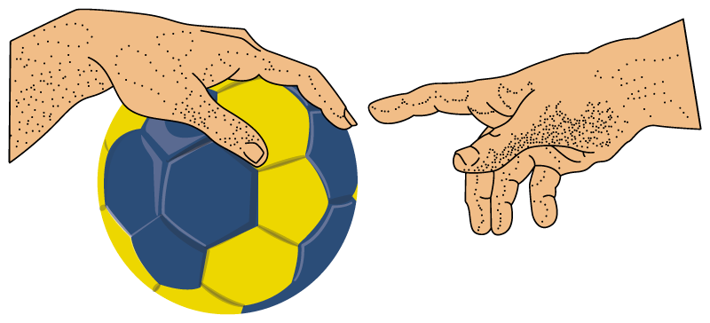 TenStickers. Handball Michelangelo laptop skin. Decorative laptop vinyl sticker with the design of a handball and a players's hand. Easy to apply and it is available in different sizes.