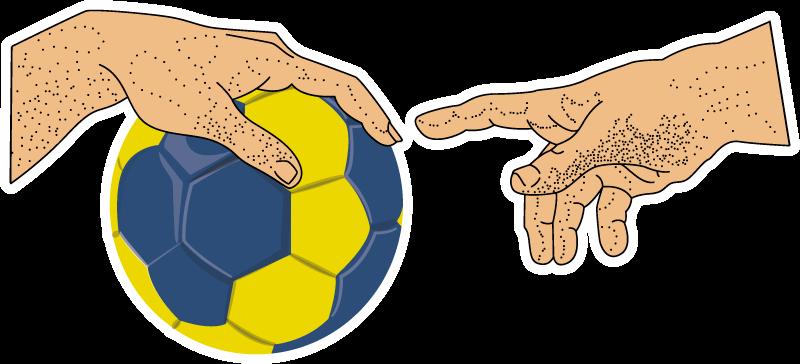 TENSTICKERS. ハンドボールミケランジェロラップトップスキン. ハンドボールとプレーヤーの手のデザインの装飾的なラップトップのビニールステッカー。適用が簡単で、さまざまなサイズで利用できます。