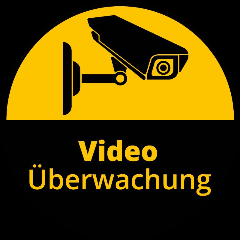 TenStickers. Videoüberwachungsschild Aufkleber. Videoüberwachungsaufkleber mit dem Design der Überwachungskamera und einem Warnhinweis. Einfach anzuwenden und in verschiedenen Größen erhältlich.