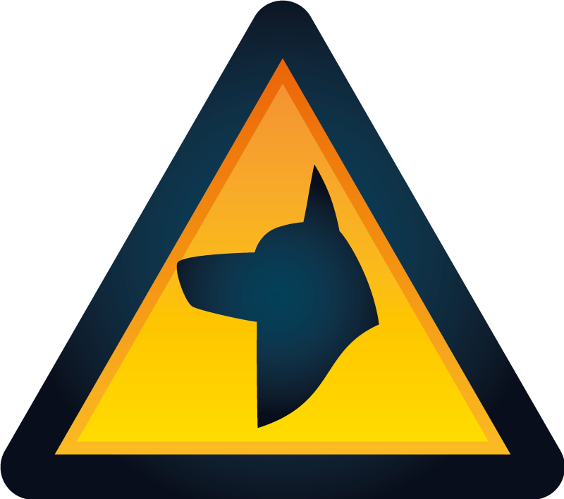 TenStickers. Warning dog sign sticker. Sign wall decal design created with the print of a dog image on a signage background . Easy to apply on any flat surface.