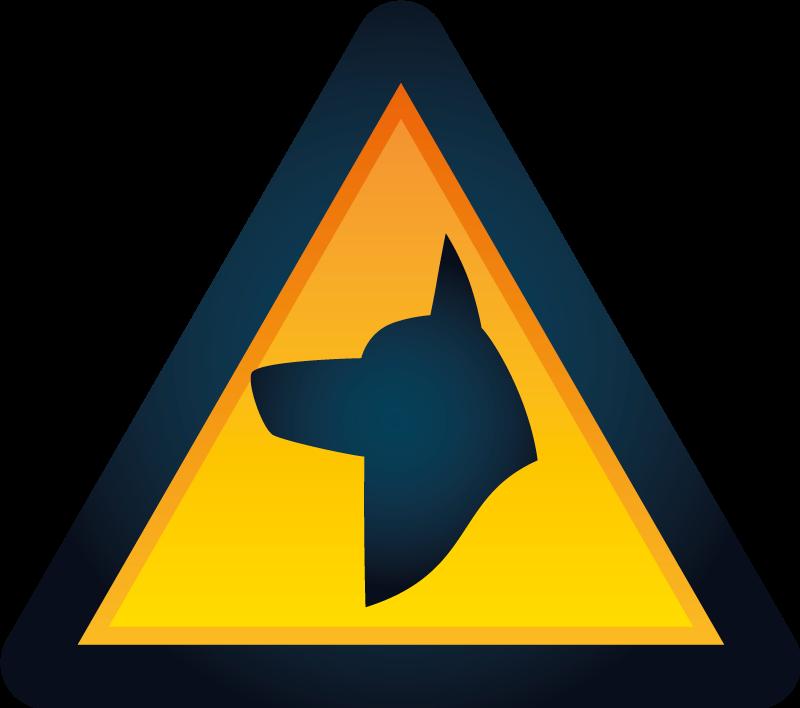 TenStickers. Avertissement chien signe autocollant. Signe la conception de stickers de mur créé avec l'impression d'une image de chien sur un fond de signalisation. Facile à appliquer sur toute surface plane.