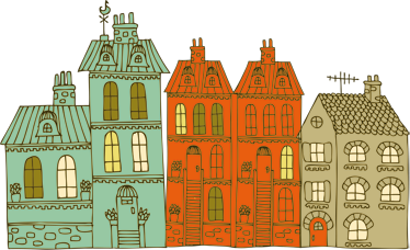 TenStickers. Building Illustrations Wall Sticker. Wall Stickers - Drawing illustration of buildings. Urban and fun design suitable for all ages.