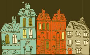 TenStickers. Naklejka dekoracyjna kolorowe budynki. Weosła naklejka dekoracyjna, która przedstawia różnokolorowe budynki. Ciekawa aranżacja do pokoju dziecięcego.