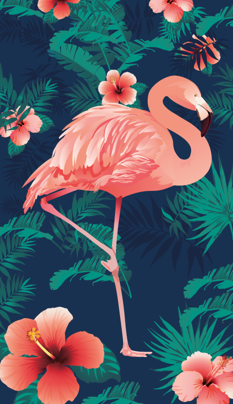 TenStickers. Big-flamingo fridge wrap. Decorative fridge door vinyl decal with the design of a flamingo bird. A complete fridge door wrap. Customize it to fit the dimension of the surface.