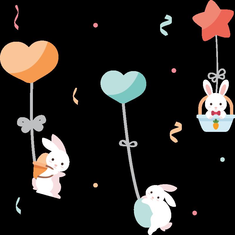 TenStickers. Süße Kaninchen Kinderzimmer Wandtattoo. Dekorativer Wandaufkleber mit dem Design von Kaninchen und schönen Merkmalen für Kinderzimmer. Einfach anzuwenden.