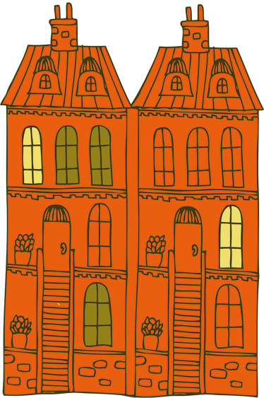 TenStickers. Orange Buildings Drawing Decal. Decals - Drawing illustration of two attached buildings. Distinctive feature suitable for all ages. Available in various sizes to decorate any room.