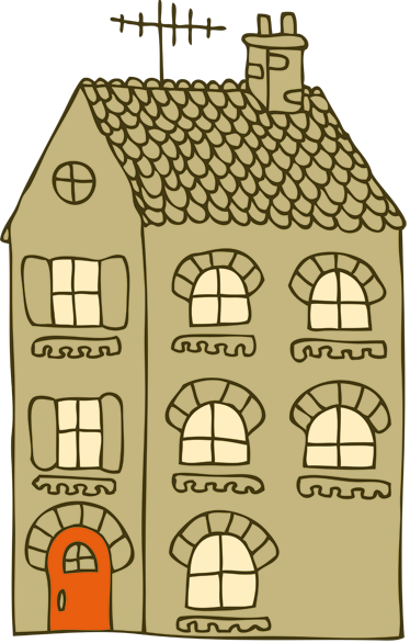 TenStickers. Sticker huis decoratief simplistisch. Deze sticker omtrent een flatgebouw in een simpel, maar decoratief ontwerp. Ideaal voor jong en oud!