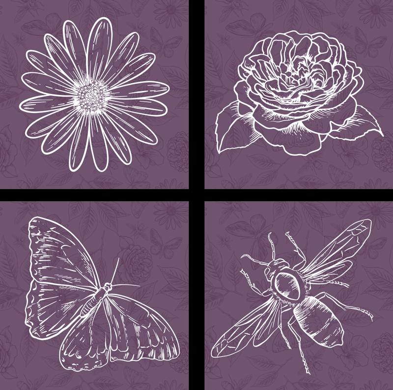 TenStickers. Vinis autocolantes de azulejos Botânica. Autocolante de azulejos com padrão botânico para decorar a superfície dos seus azulejos. Use-o na cozinha ou em qualquer outra área desejada da casa.