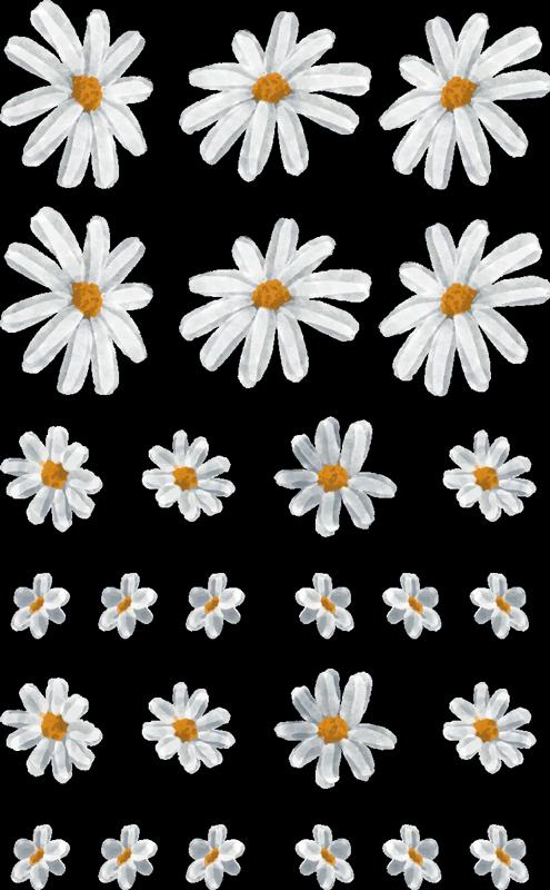 TenStickers. 70 년대 데이지 패턴 시트 꽃 벽 장식. 데이지 꽃의 디자인으로 장식 홈 벽 스티커 인쇄합니다. 꽃 가을 분위기를 조성하기 위해 공간을 아름답게 꾸미십시오.