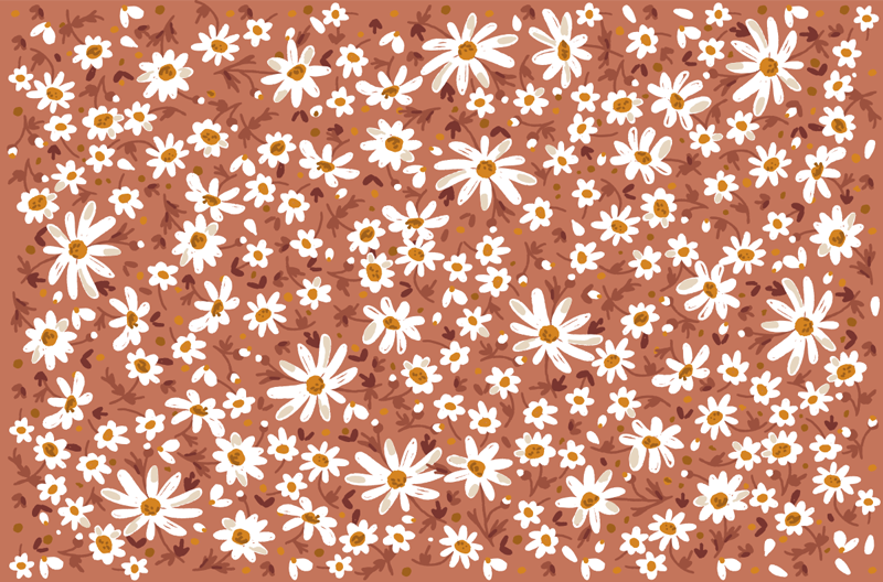 TenStickers. 70's daisy pattern furniture decal. Let's bring back the 70's to your home with our furniture daisy pattern sticker to decorate cabinets and tables. Easy to apply with customisable size.