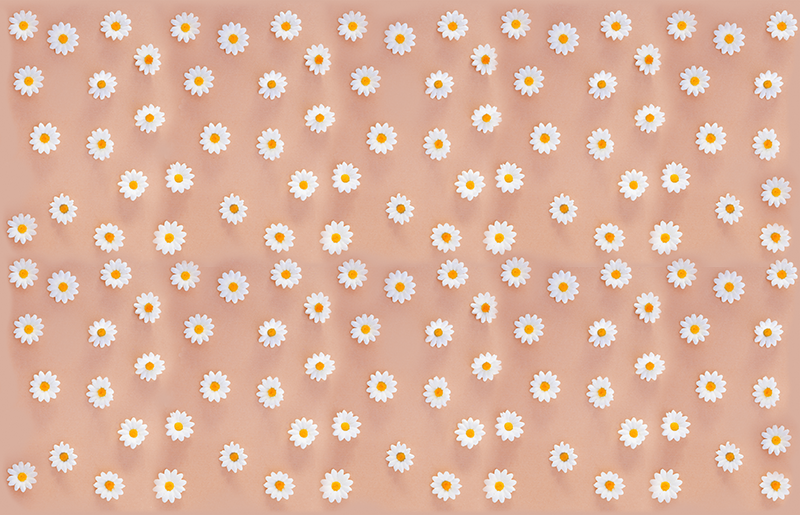 TenStickers. Modern daisy pattern furniture decal. Decorative furniture sticker with modern colorful daisy flower pattern. Ideal for tables, cabinets  with flat surface. Customisable in any size.