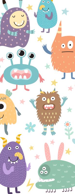 TenStickers. 행복한 괴물 유리 문 데칼. 아이들을위한 문 공간을 장식하는 다른 행복 괴물과 함께 창조적 인 괴물 문 스티커. 필요한 크기로 제공됩니다.