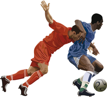 TenStickers. Wandtattoo Fußballer. Dekorieren Sie das Kinderzimmer mit diesen zwei Fußballspielern, die mit vollen Einsatz um den Ballbestitz kämpfen.