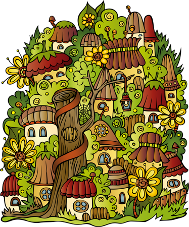 TENSTICKERS. 小さな町の壁のステッカー. デカール-植生と家で満たされた魅惑的な小さな町のイラスト。子供に最適です。さまざまなサイズで利用できます。