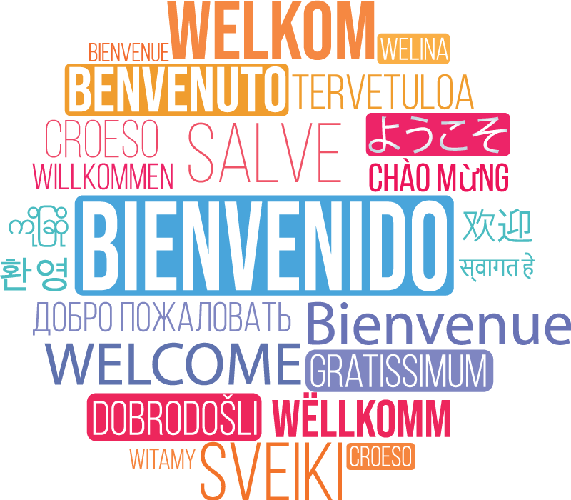 TenStickers. Welcome text in many languages Boardroom Wall Sticker. Decorative boardroom greeting text wall sticker to decorate in diversity of languages. A multicolour design available in any required size.
