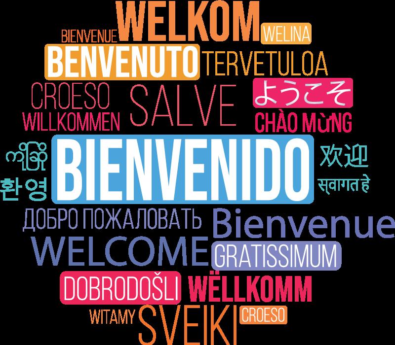 """TenVinilo. Vinilo pared bienvenido en idiomas para oficina. Vinilo de texto con la palabra """"BIENVENIDO"""" en diferentes idiomas para decorar tu oficina o sala de reuniones de forma intercultural ¡Envío gratuito!"""
