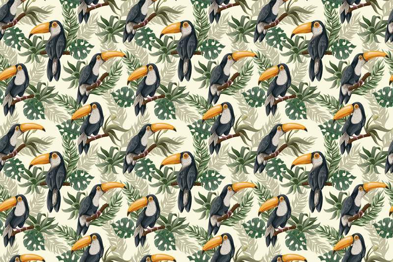 TenStickers. Jungle furniture decal. Jungle furniture sticker created with the graphic images of birds. Decorate every furniture in the home with this amazing design.