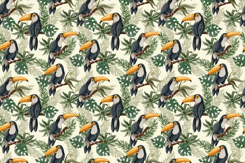 TenStickers. Autocollant de meubles de jungle. Autocollant de meubles de jungle créé avec les images graphiques des oiseaux. Décorez tous les meubles de la maison avec ce design incroyable.