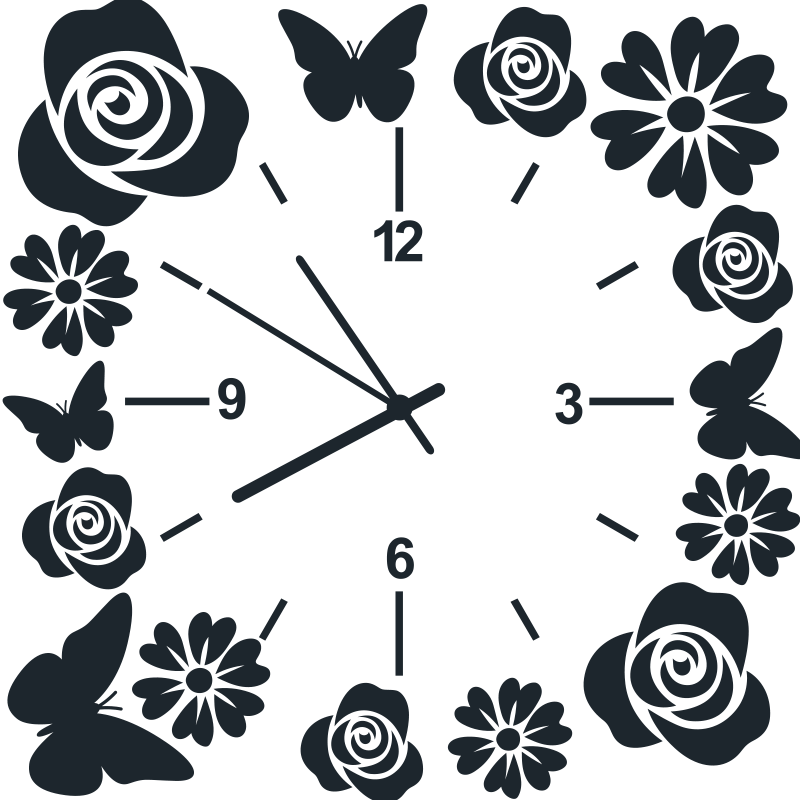 TenStickers. Horloge avec papillons et fleurs autocollant murale. Adhesif deco horloge décorative avec la conception de fleurs et de papillons. Disponible en différentes couleurs et tailles. Facile à appliquer.