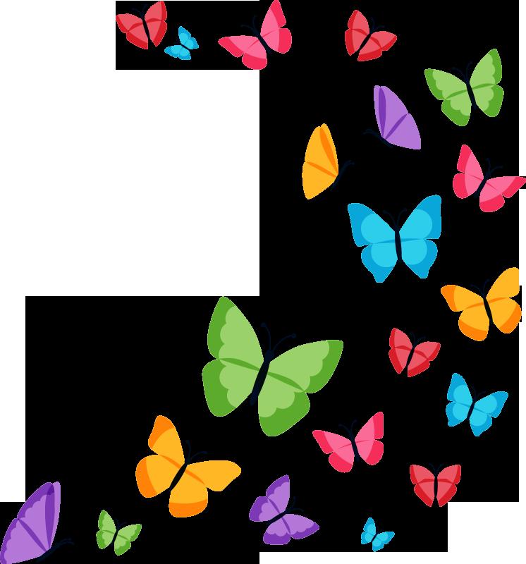 TenVinilo. Vinilo infantil mariposas coloridas. Vinilo adhesivo para pared mariposas coloridas para el dormitorio de niños. Fácil de aplicar y disponible en cualquier tamaño requerido.