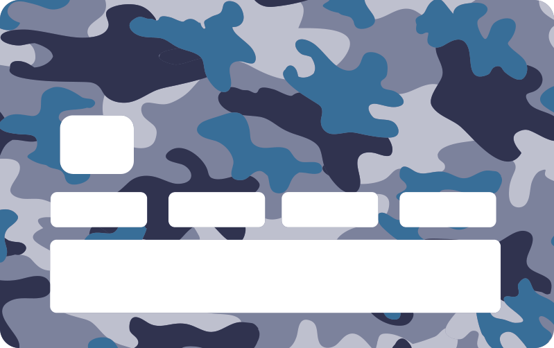 TenStickers. Card camo blue credit card sticker. Decorative bank card sticker with a blue and grey camo military design. Now you can enjoy beautiful card surface in your own style.Easy to apply.