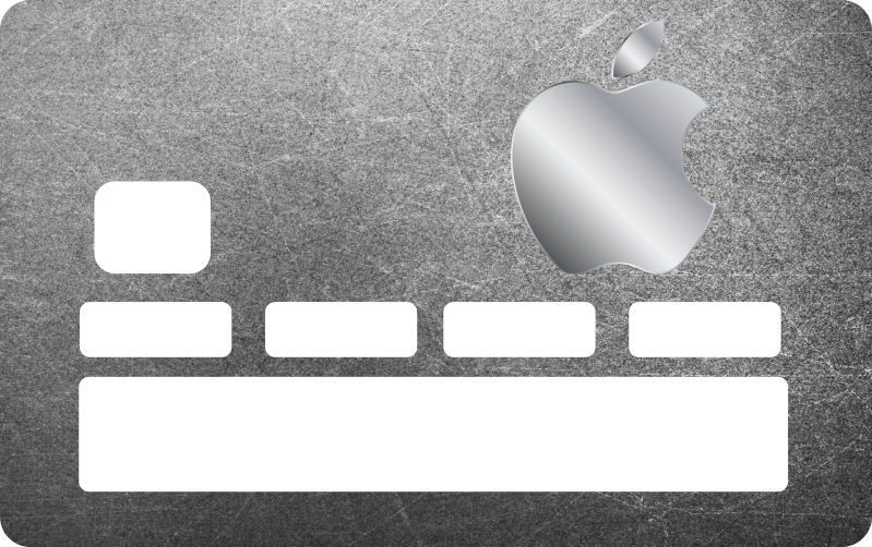 TenStickers. Gray of Apple credit card sticker. Credit card decal with grey textured background and an apple print to decorate a bank card. Highly adhesive and easy to apply.
