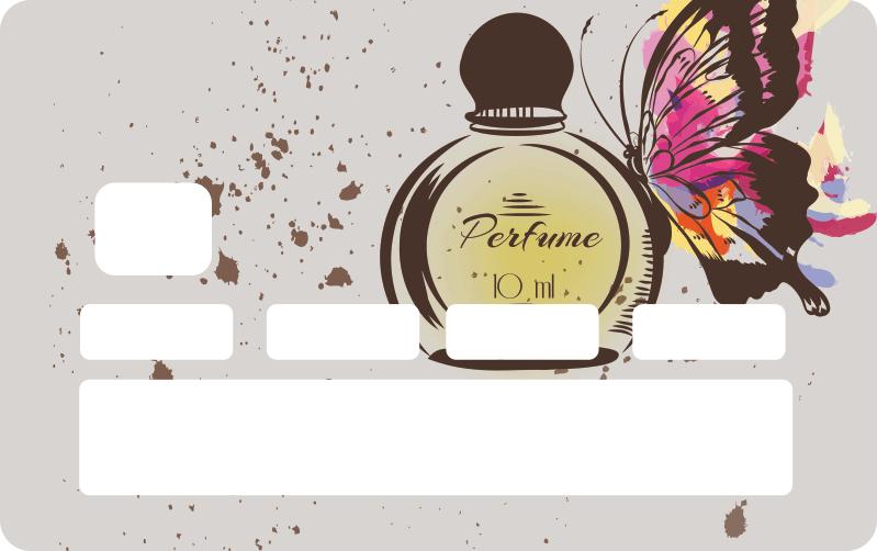 TenVinilo. Vinilo adhesivo para tarjeta fragancia amor. Vinilo tarjeta de crédito de fragancia de amor con frasco y mariposas para decorar tu tarjeta de forma original y bonita ¡Envío a domicilio!
