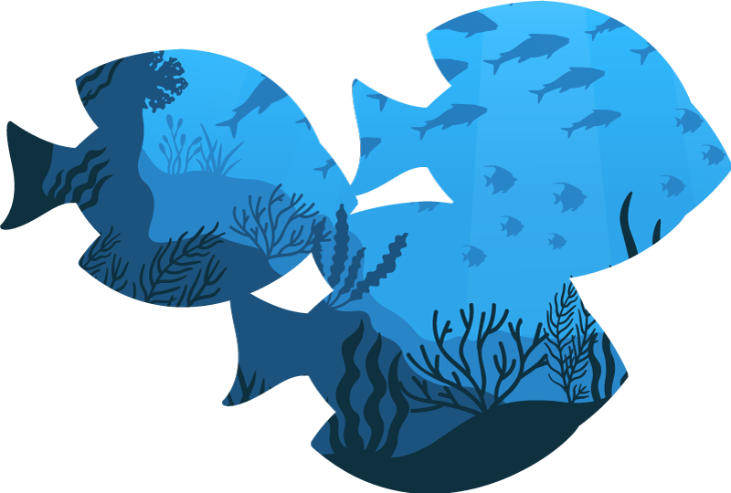TenStickers. Sticker pesci d'acquario. Decora il tuo bagno con questo spettacolare adesivo per pesci con un design originale di tre sagome di pesci con la rappresentazione del fondale marino.