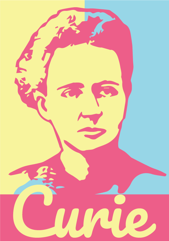 TenStickers. Maria Skłodowska Curie laptop skin. Maria Skłodowska Curie laptop decal to decorate a laptop in personality style. It is easy to place and available in different size option.