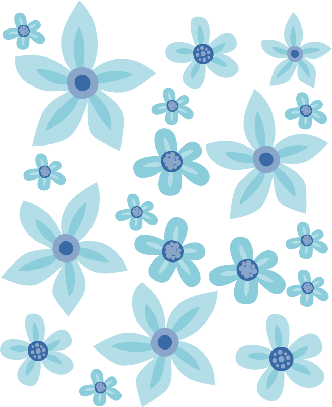 TenStickers. Blue flowers Bike Decal. Bicycle frame sticker with blue flower prints design to decorate the surface of a bike in style. It is easy to apply and available in any size.