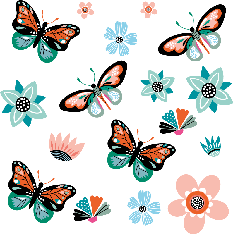 TenStickers. Butterflies and flowers Bike Decal. Decorative butterflies and flowers decal for  Bicycle frame. Beautify your bike with this amazing design that is available in any required size.
