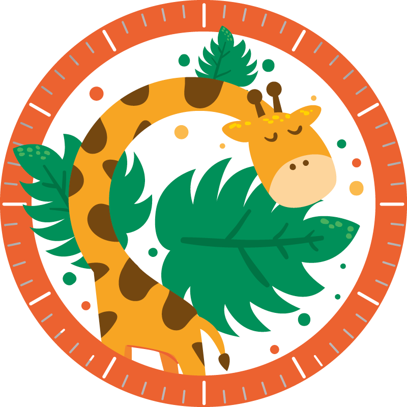 TenStickers. Children clock with giraffe sticker.  Children clock with giraffe wall sticker for children bedroom decoration. It is available in different size options and easy to apply.