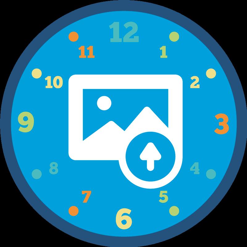 TENSTICKERS. 写真のカスタマイズ可能な壁時計ステッカー付き丸時計. 任意の画像でカスタマイズ可能な写真の壁のステッカーが付いた丸い時計。私たちは家を飾るために必要なサイズでそれを持っています。