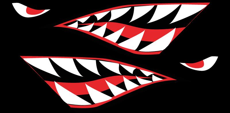 TenVinilo. Pegatina para bicicleta cara de tiburón dientes afilados. Pegatina bicicleta de dientes afilados con cara de tiburón para decorar la superficie de una bicicleta. Es fácil de aplicar ¡Envío a domicilio!