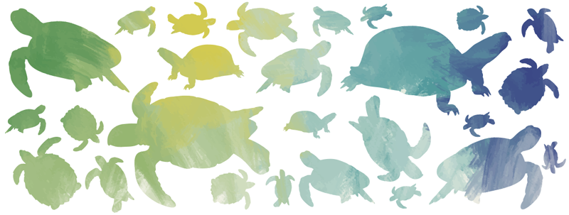 TenStickers. Turtles furniture decal. Personalize you home furniture with this amazing animal furniture vinyl sticker with a pattern of multiple turtles silhouettes.