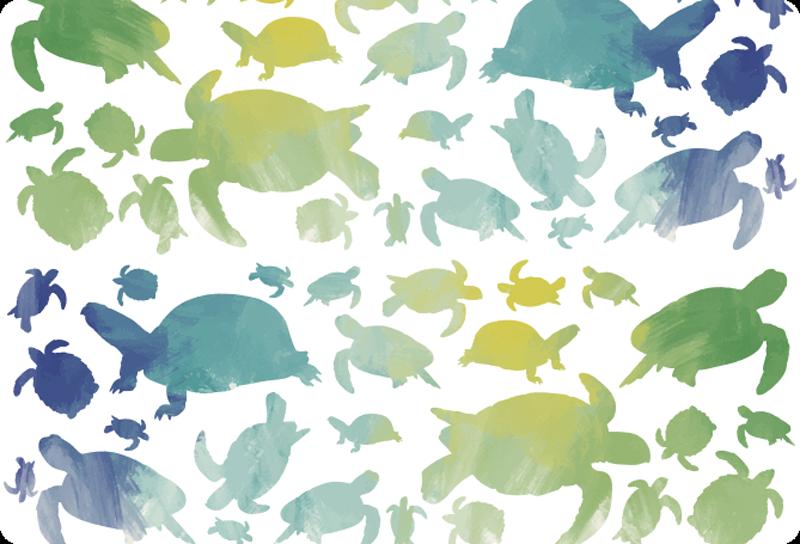 TenStickers. 화려한 거북이 팩 노트북 스킨. 다양한 크기의 여러 거북이 실루엣의 패턴 으로이 동물 노트북 스티커로 노트북을 개인화하십시오.