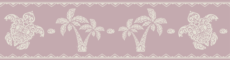 TENSTICKERS. ハワイアンタートルアンドパームパターンウォールボーダーデカール. タートルプリントのデザインが施された装飾的な壁ボーダーステッカー。お好みのサイズで購入して、家のスペースをスタイリッシュに飾りましょう。