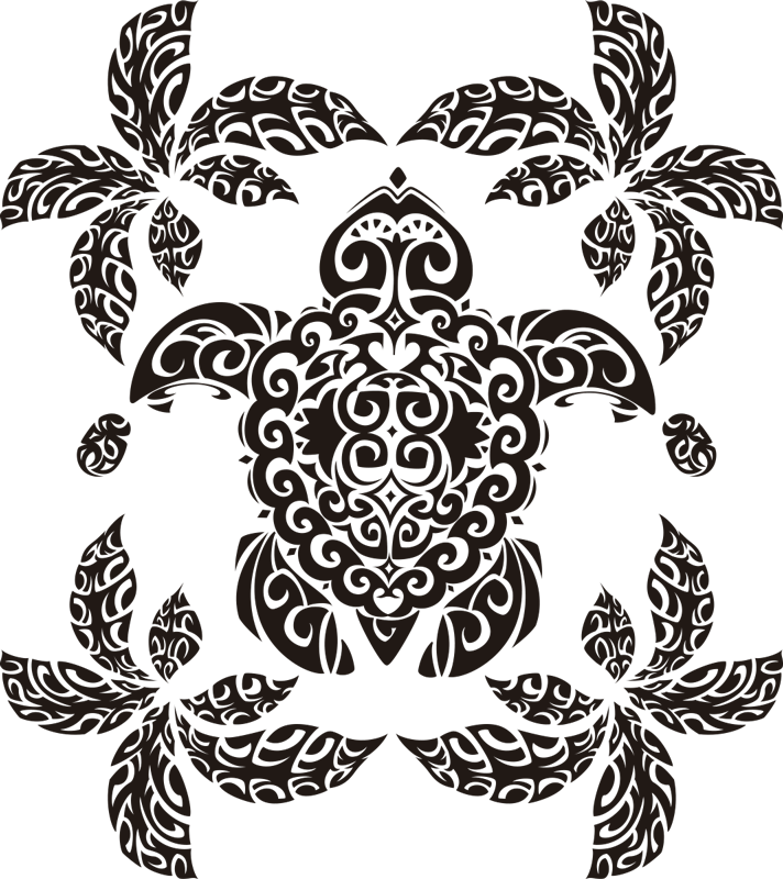 TenStickers. Hawaian Turtle and palm Pattern animal wall sticker. Decorative animal drawing wall art sticker with the design of a turtle styled in palm tree pattern. It is available in any required size.