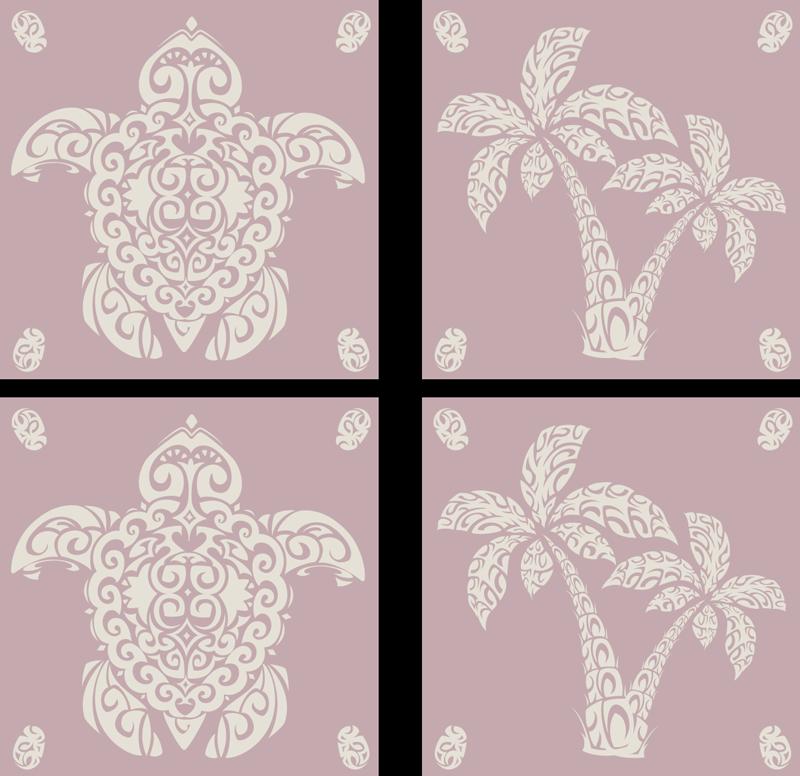 TenVinilo. Vinilos azulejos patrón  tortuga hawaiana y palma. Haga que el espacio de los azulejos de la cocina y el baño sea elegante con nuestro vinilos azulejos y originales ¡Envío a domicilio!