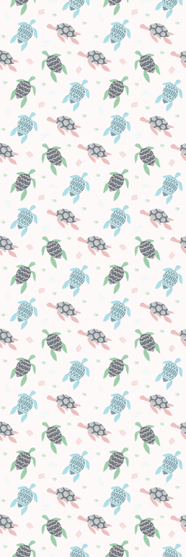 TenStickers. Soft color turtles fridge wrap.  Soft color turtles fridge decal to decorate the surface of a fridge door. It is available in any required size. Easy to apply and adhesive.