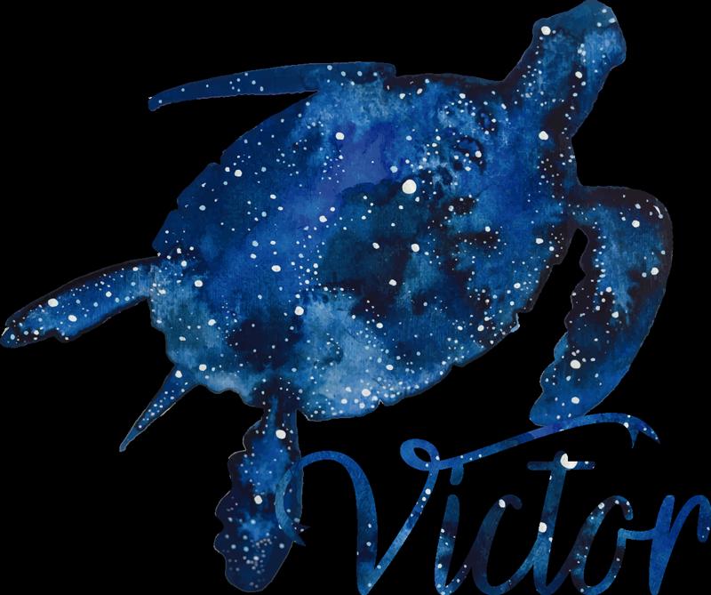 TenStickers. Sticker animale tartaruga con motivo e nome galassia. Personalizzabile un nome sulla nostra decalcomania di stickers murali di tartaruga con stampe di galassie modellate su di esso. Disponibile in qualsiasi dimensione richiesta.