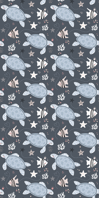 TenStickers. Turtles and Fish Under Sea fridge wrap. Decorative fridge door sticker with the design of turtles and fishes under Sea. It is available in any required size and it is easy to apply.