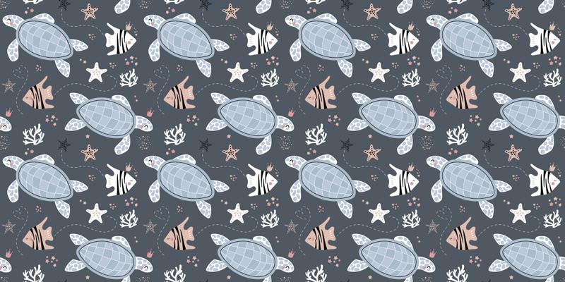 TenStickers. 海家具贴花下的海龟和鱼. 装饰海龟和鱼类在海家具贴纸下。用在家里的桌子,抽屉和橱柜表面。有任何尺寸。