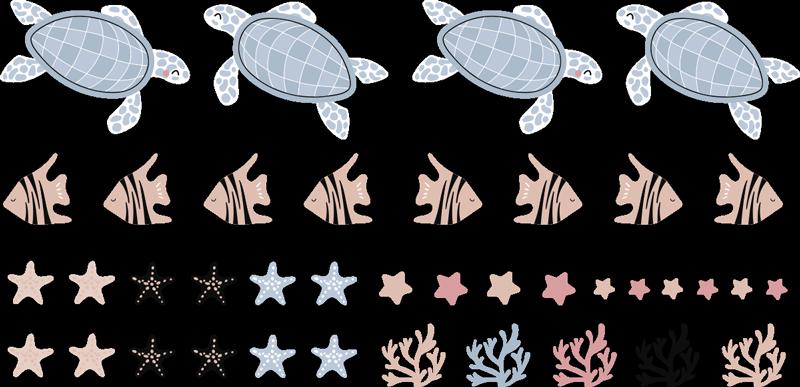 TenVinilo. Vinilo para bebés tortugas y peces bajo el mar. Vinilo habitación bebés de tortugas y peces debajo de animales marinos para decorar la habitación de los niños ¡Envío a domicilio!