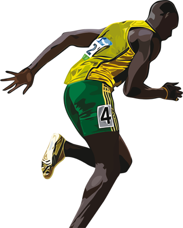 TenStickers. Usain Bolt Wall Sticker. A sport sticker of Usain Bolt, the Jamaican athlete. This athlete decal of the 100 metre champion is perfect to decorate any space or sport centre.